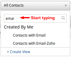 Zoho CRM List View Search